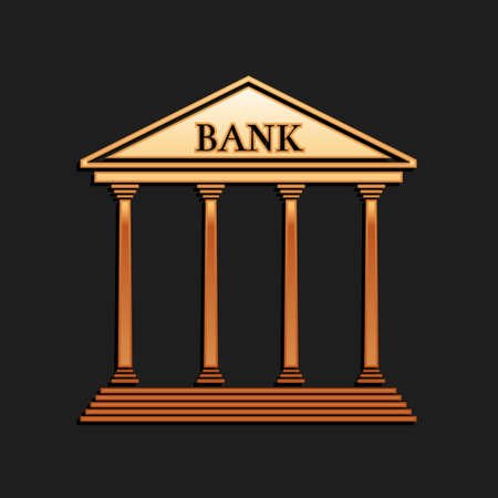 Gold Bank building icon isolated on black background. Long shadow style. Vector