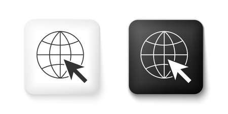Black and white Go To Web icon isolated on white background. Globe and cursor. Website pictogram. World wide web symbol. Square button. Vector