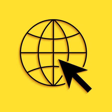 Black Go To Web icon isolated on yellow background. Globe and cursor. Website pictogram. World wide web symbol. Long shadow style. Vector