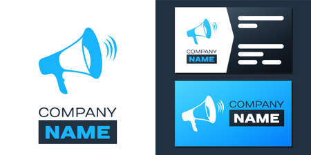 Logotype Megaphone icon isolated on white background. Logo design template element. Vector Çizim