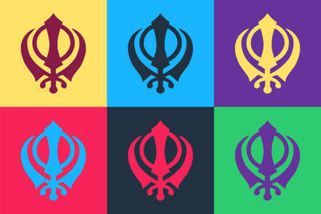 Pop art Sikhism religion Khanda symbol icon isolated on color background. Khanda Sikh symbol. Vector