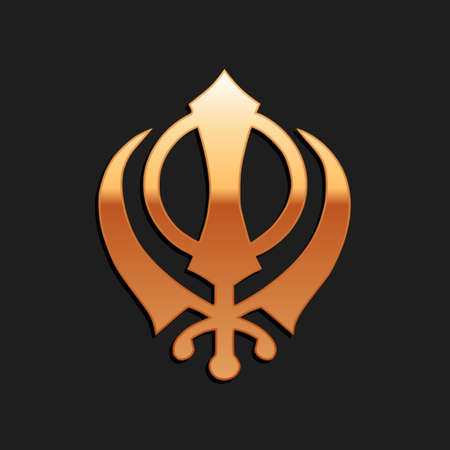 Gold Sikhism religion Khanda symbol icon isolated on black background. Khanda Sikh symbol. Long shadow style. Vector