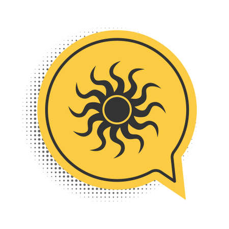 Black Sun icon isolated on white background. Yellow speech bubble symbol. Vector