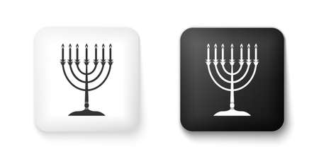Black and white Hanukkah menorah icon isolated on white background. Religion icon. Hanukkah traditional symbol. Holiday religion, jewish festival of Lights. Square button. Vector