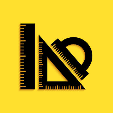 Black Set ruler, triangular ruler and protractor icon isolated on yellow background. Straightedge sign. Triangle sign. Geometrical instruments. Long shadow style. Vector