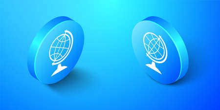 Isometric Earth globe icon isolated on blue background. Blue circle button. Vector