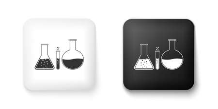 Black and white Test tube and flask - chemical laboratory test icon isolated on white background. Laboratory glassware sign. Square button. Vector