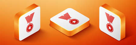 Isometric Medal with star icon isolated on orange background. Winner achievement sign. Award medal. Orange square button. Vector