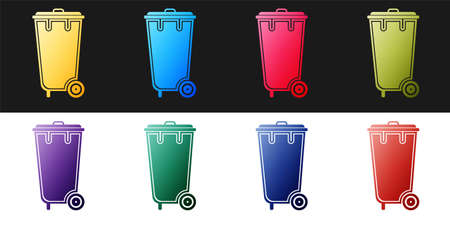 Set Trash can icon isolated on black and white background. Garbage bin sign. Recycle basket icon. Office trash icon. Vector