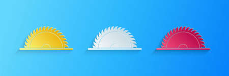 Paper cut Circular saw blade icon isolated on blue background. Saw wheel. Paper art style. Vector