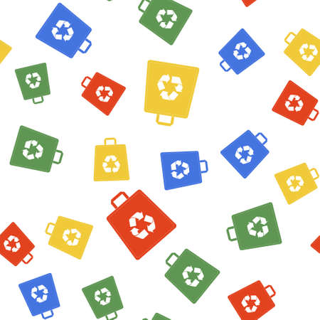 Color Paper shopping bag with recycle icon isolated seamless pattern on white background. Bag with recycling symbol. Vector