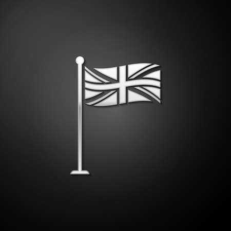 Silver Flag of Great Britain on flagpole icon isolated on black background. UK flag sign. Official United Kingdom flag sign. British symbol. Long shadow style. Vector