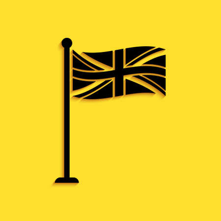 Black Flag of Great Britain on flagpole icon isolated on yellow background. UK flag sign. Official United Kingdom flag sign. British symbol. Long shadow style. Vector Çizim