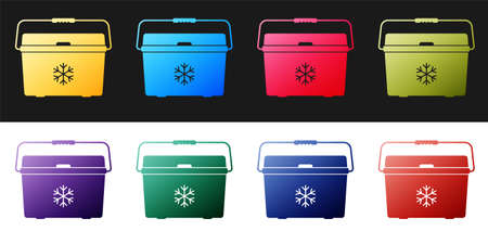 Set Cooler bag icon isolated on black and white background. Portable freezer bag. Handheld refrigerator. Vector Çizim