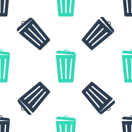 Green Trash can icon isolated seamless pattern on white background. Garbage bin sign. Recycle basket icon. Office trash icon. Vector
