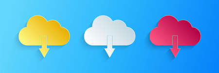 Paper cut Cloud download icon isolated on blue background. Paper art style. Vector Çizim