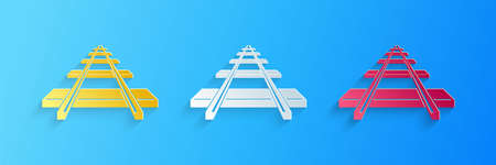 Paper cut Railroad icon isolated on blue background. Paper art style. Vector Çizim