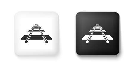 Black and white Railroad icon isolated on white background. Square button. Vector