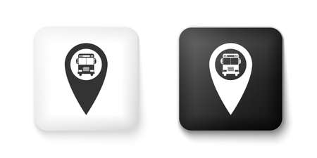 Black and white Map pointer with bus icon isolated on white background. Square button. Vector