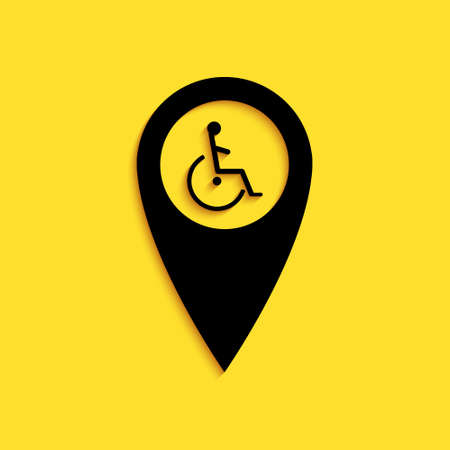 Black Disabled Handicap in map pointer icon isolated on yellow background. Invalid symbol. Wheelchair handicap sign. Long shadow style. Vector