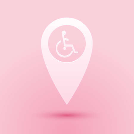 Paper cut Disabled Handicap in map pointer icon isolated on pink background. Invalid symbol. Wheelchair handicap sign. Paper art style. Vector