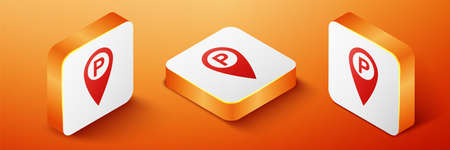 Isometric Map pointer with car parking icon isolated on orange background. Orange square button. Vector