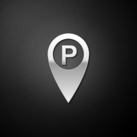 Silver Map pointer with car parking icon isolated on black background. Long shadow style. Vector Çizim