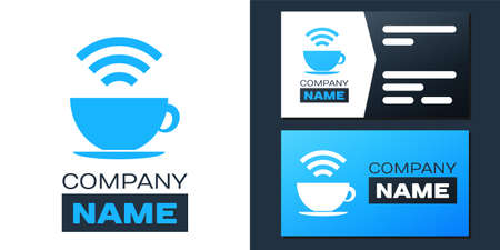 Logotype Cup of coffee shop with free wifi zone icon isolated on white background. Internet connection placard. Logo design template element. Vector Çizim