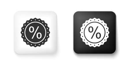 Black and white Percent symbol discount icon isolated on white background. Sale percentage - price label, tag. Square button. Vector Çizim