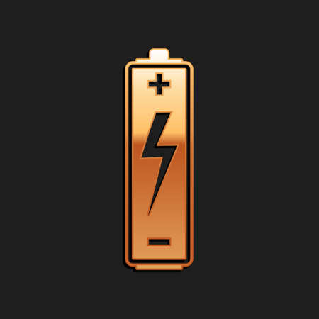 Gold Battery icon isolated on black background. Lightning bolt symbol. Long shadow style. Vector Çizim