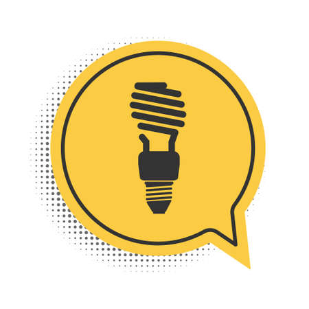 Black Energy saving light bulb icon isolated on white background. Yellow speech bubble symbol. Vector
