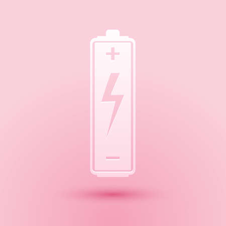 Paper cut Battery icon isolated on pink background. Lightning bolt symbol. Paper art style. Vector