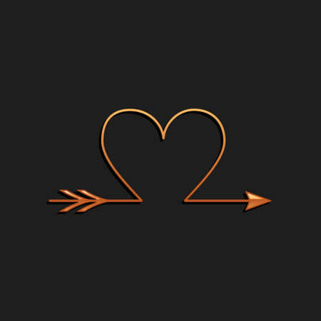 Gold Cupid arrow heart, Valentines Day cards icon isolated on black background. Long shadow style. Vector