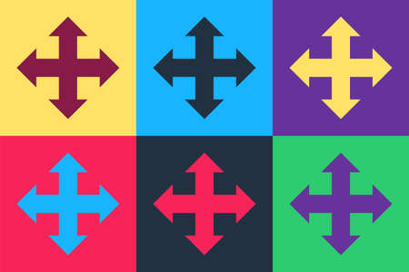 Pop art Arrows in four directions icon isolated on color background. Vector Çizim