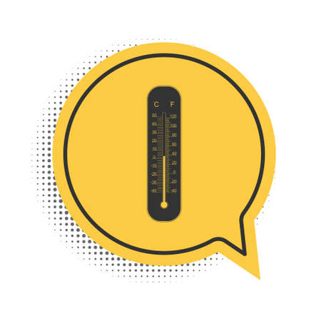 Black Celsius and fahrenheit meteorology thermometers measuring icon isolated on white background. Thermometer equipment showing hot or cold weather. Yellow speech bubble symbol. Vector