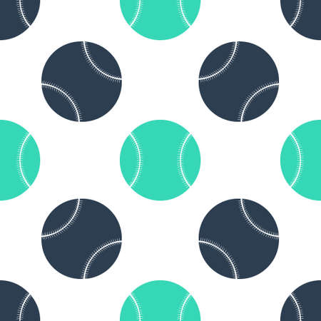 Green Baseball ball icon isolated seamless pattern on white background. Vector Çizim