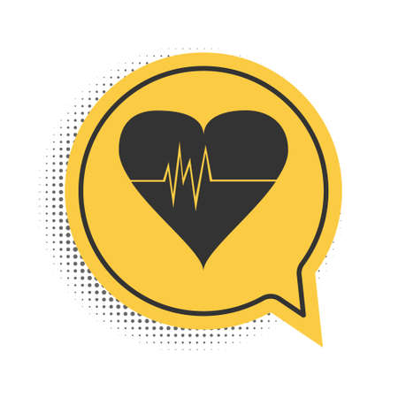 Black Heart rate icon isolated on white background. Heartbeat sign. Heart pulse icon. Cardiogram icon. Yellow speech bubble symbol. Vector Çizim