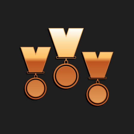 Gold Medal set icon isolated on black background. Winner simbol. Long shadow style. Vector Çizim
