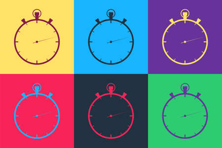Pop art Stopwatch icon isolated on color background. Time timer sign. Vector