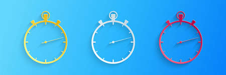 Paper cut Stopwatch icon isolated on blue background. Time timer sign. Paper art style. Vector