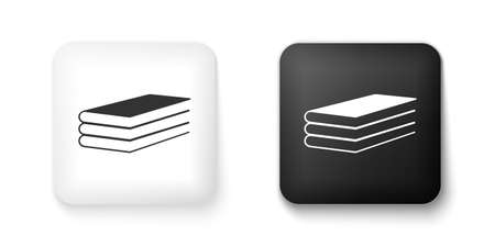 Black and white Books icon isolated on white background. Square button. Vector