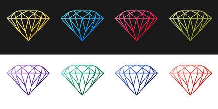 Set Diamond icon isolated on black and white background. Jewelry symbol. Gem stone. Vector