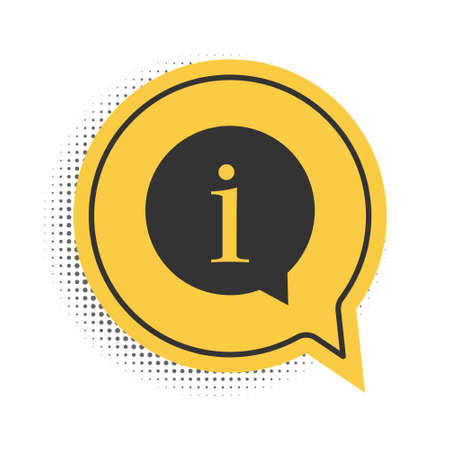 Black Information icon isolated on white background. Yellow speech bubble symbol. Vector