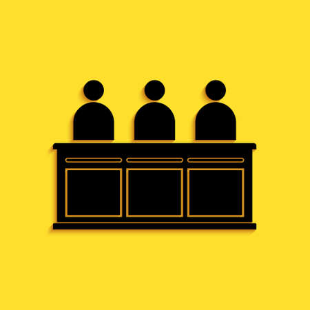 Black Jurors icon isolated on yellow background. Long shadow style. Vector