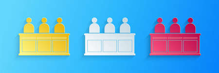 Paper cut Jurors icon isolated on blue background. Paper art style. Vector Illustration
