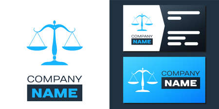 Logotype Scales of justice icon isolated on white background. Court of law symbol. Balance scale sign. Logo design template element. Vector