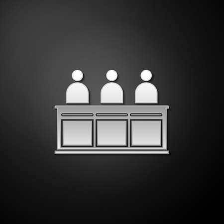 Silver Jurors icon isolated on black background. Long shadow style. Vector