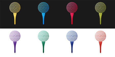 Set Golf ball on tee icon isolated on black and white background. Vector