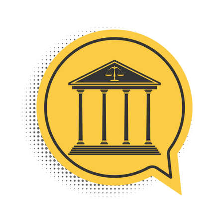 Black Courthouse building icon isolated on white background. Yellow speech bubble symbol. Vector