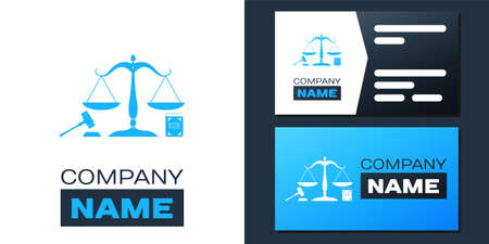 Logotype Scales of justice, gavel and book icon isolated on white background. Symbol of law and justice. Concept law. Legal law and auction symbol. Logo design template element. Vector Illustration